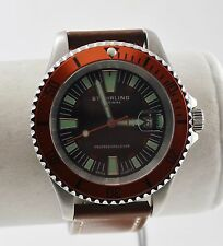 Stuhrling Men's Pro Diver Watch, Black Dial, Orange Bezel, Brown Leather Strap