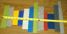 (12) Pcs (8) Colors 100% Wool Felt Craft Scraps Thick 3mm Gray Blue Green Red+