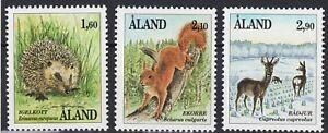 Aland Hedgehog Squirrel Roe-Deer Mammals Åland Finland Mint MNH Stamp Set 1991