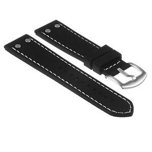 StrapsCo Rubber Aviator Watch Band Strap w/ Rivets for Samsung Galaxy Watch 3