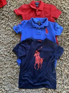 Boys Lot (4) Short Sleeve And Long Sleeve Polo Shirts Polo Ralph Lauren Size 6
