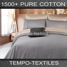 New QB 1500TC Egyptian Cotton 40cm Fitted Flat Pillowcase Sheet Set  Pewter Grey