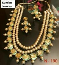 Gold Plated Layered Green Kundan Necklace Earrings Women Fashion Indian Jewelry