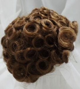 "Sz 13/14"" Curly Light Brown Doll Wig Reborn OOAK Ceramic Repair FRANCIS"