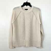 J. Crew Wool Pointelle Cable Sweater Ivory Size M