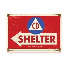 Department of Civil Defense Shelter Tin Metal Sign Bomb Shelter WWII Cold War