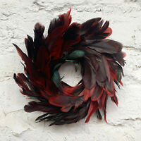 Faux Peacock Rouge Red Feather Wreath Christmas Wall Door Hanging Decoration Art