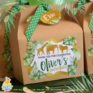 Personalised JUNGLE ANIMALS Safari Gold Green Kraft Box Birthday Party Bag