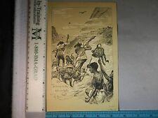 Rare Antique Orig VTG c 1900 Savage Brutes Bit Our Boots Hunting Litho Art Print