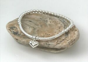 Sterling Silver Beaded Stretch Stacking Bracelets, Love Heart Charm Womens Gift