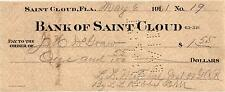 A Classic 1901 Bank of Saint Cloud, St. Cloud, Fla. Old Bank Check  USED