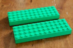 2x Lego base plate Building Board Mat 12 x 4 Studs Green platform Soccer Field