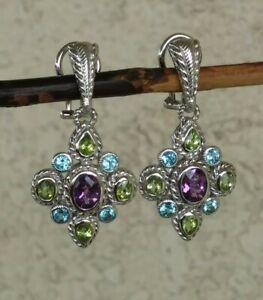 Judith Ripka Blue Topaz, Peridot And Amethyst CLIP Dangle Earrings Sterling