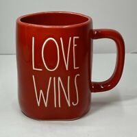 "Rae Dunn Valentine's Day LL Red ""LOVE WINS"" Mug - All Red/White Font NEW"