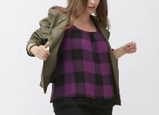 Lane Bryant FAUX leather blackened olive jacket w/ buckles snap neck size 18/20
