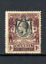 More details for gambia 1929 1s blackish purple/yellow-buff  mh