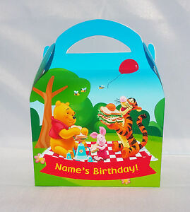 Winnie the Pooh Children's Personalised Party Boxes Favour 1ST CLASS POST