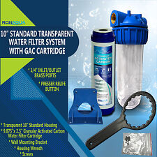 """10"""" Clear Standard Whole House Water Filter System with GAC Filter"""