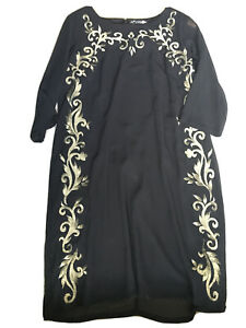 Joanna Hope Dress Size 22 Black Gold Embroidered New
