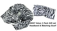 $76 DKNY Designer  2 pc Value Pack Fuzzy Zebra Knit  Scarf Headband White Black