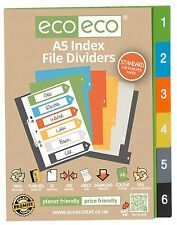 6 PART X A5 INDEX FILE FOLDER PLASTIC SUBJECT DIVIDERS ORGANISER 1 TO 6 NUMBER