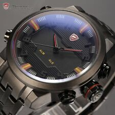 Men's Black Dial Shark LED Day Date Steel Analog Sport Quartz Wrist Watch Red