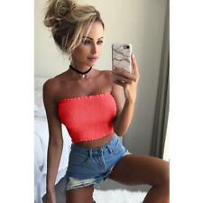 Women Off Shoulder Elastic Tube Tops Bra Blouse Strapless Bandeau Crop Top Shirt