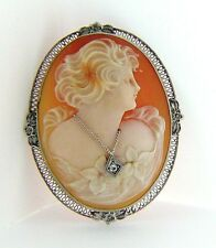 ESTATE 14 KARAT WHITE GOLD CAMEO BROOCH / PENDANT VINTAGE APC-22-1