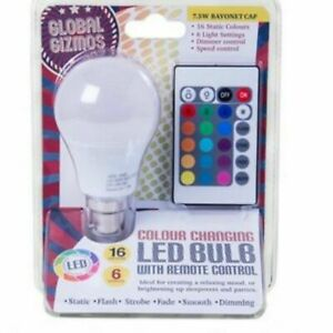 Colour Changing Lightbulb With Remote Control - Bayonet Cap Brand New & Sealed
