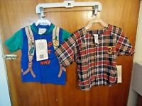 "Baby Boys Lot Of 2 "" NWT "" Size 2T Garanimals "" Camp "" & Pixie Playmates Shirts"