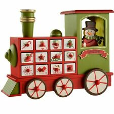Wooden Advent Calendar Snowman Train Style House with Drawers for Gifts Treats