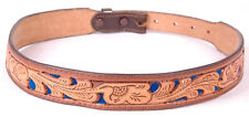 Vtg Leather Belt-KOLEACO-Tooled-Stamped-Floral-Blue Velvet-Western-Brown-30-4397