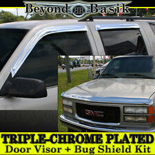 1995-1999 Tahoe Yukon C1500 K1500 Chrome Door Visors+Hood Guard Bug Shield
