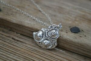 "Fine silver solid pendant, ""antiquity"" on choker length silver chain 15"""