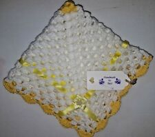 "LOVELY HAND CROCHET BABY DOLL BLANKET:WHITE & LEMON YELLOW RIBBON 18"" x 18"""