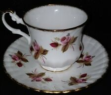 Footed Rosina Red & Pink Rosebuds with Heavy Gold Trim - Teacup & Saucer
