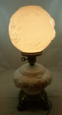 Vintage GWTW Hurricane Table Lamp Floral Embossed White Milk Glass Pink Roses