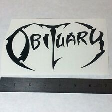 OBITUARY Vinyl DECAL STICKER WHT/RED/BL Heavy Black Death Metal BAND Logo Guitar