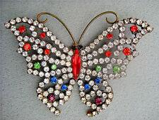 DOROTHY BAUER Butterfly #3 pin/ Swarovski Austrian topaz crystal & Jewel tone