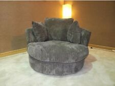 Dylan Coffee/Biscuit Jumbo Cord Cuddle Swivel Chair, Collection Available