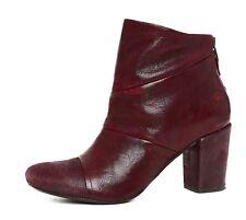 Latitude Femme Side Zip Leather Ankle Boot Burgundy Women Sz 38 6573 *