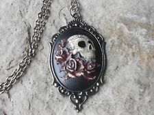 SKULL AND ROSES (HAND PAINTED) CAMEO DARK SILVER NECKLACE - GOTH, GOTHIC, UNIQUE