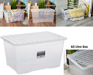 60L Wham Crystal Stacking Plastic Storage Box Container ClearClip Lid MADE IN UK