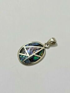 Gorgeous Sparkling Multi Colour Abalone Inlay Pendant 925 solid silver #8239