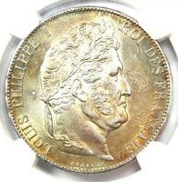 1847-A France 5 Francs Louis Philippe Coin 5F - Certified NGC AU58