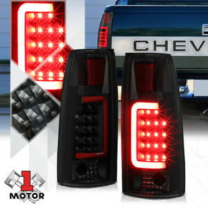 Black/Smoked *TRON LED BAR* 3D Red-C Neon Tail Light Lamp for 88-00 C10 Escalade