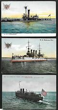 US 1900's THREE NAVY POST U.S. BATTLE SHIP OHIO, U.S.S MIANTONOMAH, U.S.S. TORPE