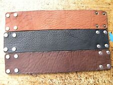 Customize size Men cuff plain Bracelet Bison leather black or brown  2 inch wide