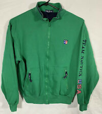 Vintage Nautica Men XL Sailing Team USA Lil Yachty Green Full Zip Jacket Sweater