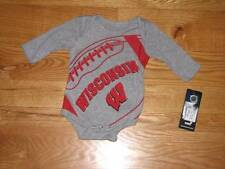 NEW Baby Boys Girls WISCONSIN BADGERS Football Creeper Bodysuit SIZE 3/6M 3/6 MO